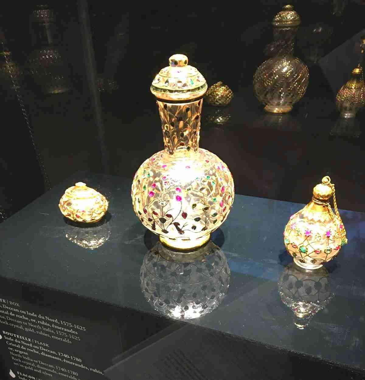 bottles with gemstones